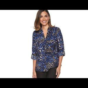 Dana Buchman women's roll tab cam shirt blue multi